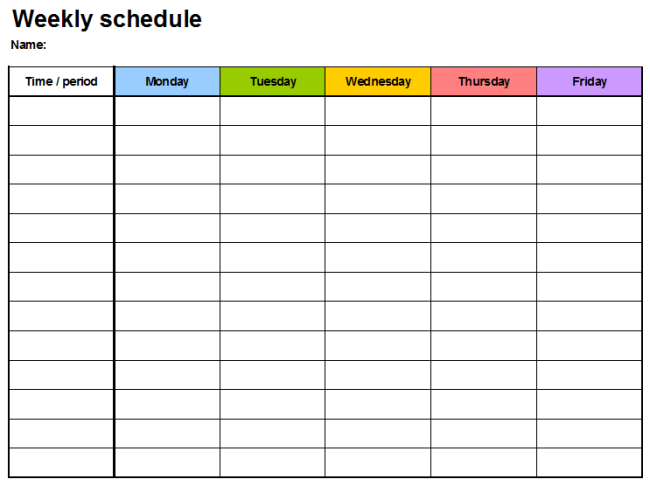Weekly Calendar Spreadsheet Template : Weekly planner template all form templates