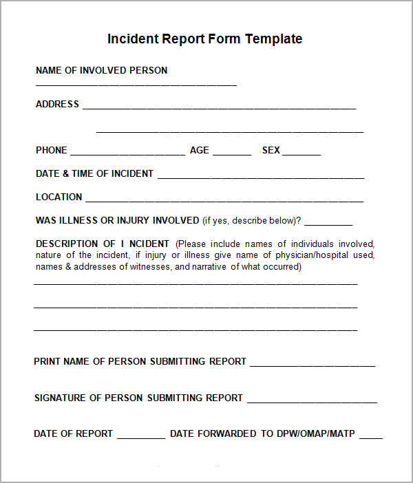 Doc.#585650: Incident Form Template – Incident Report Template 34