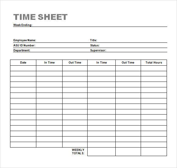 weekly hour sheet