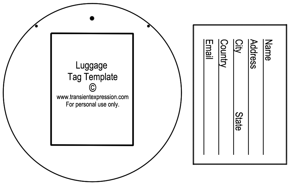 Luggage Tag Template Luggage Tags – Bag Tag Template
